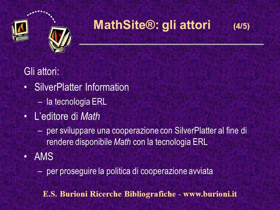 www.silverplatter.com MathSite®: gli attori (4/5) Gli attori: SilverPlatter Information –la tecnologia ERL Leditore di Math –per sviluppare una cooperazione con SilverPlatter al fine di rendere disponibile Math con la tecnologia ERL AMS –per proseguire la politica di cooperazione avviata E.S.