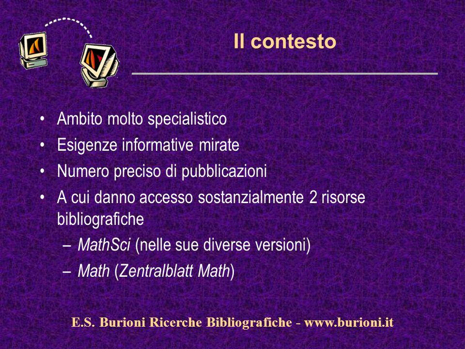 www.silverplatter.com La situazione italiana (1/3) 82 biblioteche matematiche aderiscono al SINM catalogo unico dei periodici posseduti (coordinato dal SIBA dellUniversità di Lecce) diversi progetti di cooperazione correlati (ImatLib, OldenMath, REIM) E.S.
