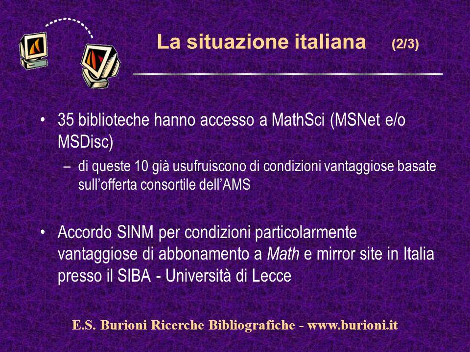 www.silverplatter.com La situazione italiana (2/3) 35 biblioteche hanno accesso a MathSci (MSNet e/o MSDisc) –di queste 10 già usufruiscono di condizioni vantaggiose basate sullofferta consortile dellAMS Accordo SINM per condizioni particolarmente vantaggiose di abbonamento a Math e mirror site in Italia presso il SIBA - Università di Lecce E.S.
