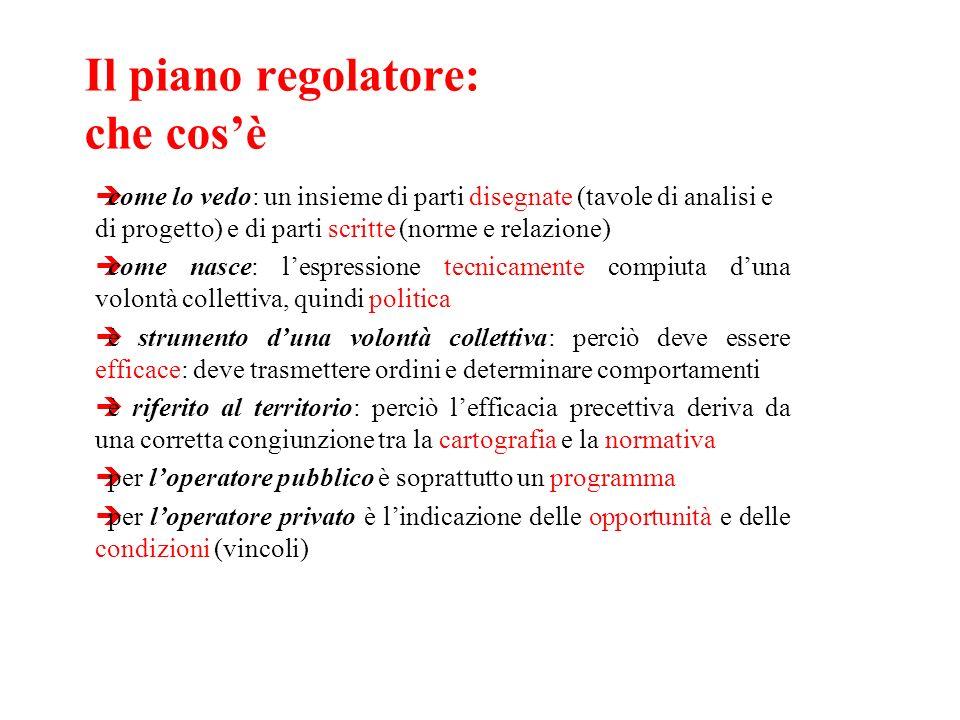 Il piano regolatore: che cosè come lo vedo: un insieme di parti disegnate (tavole di analisi e di progetto) e di parti scritte (norme e relazione) com