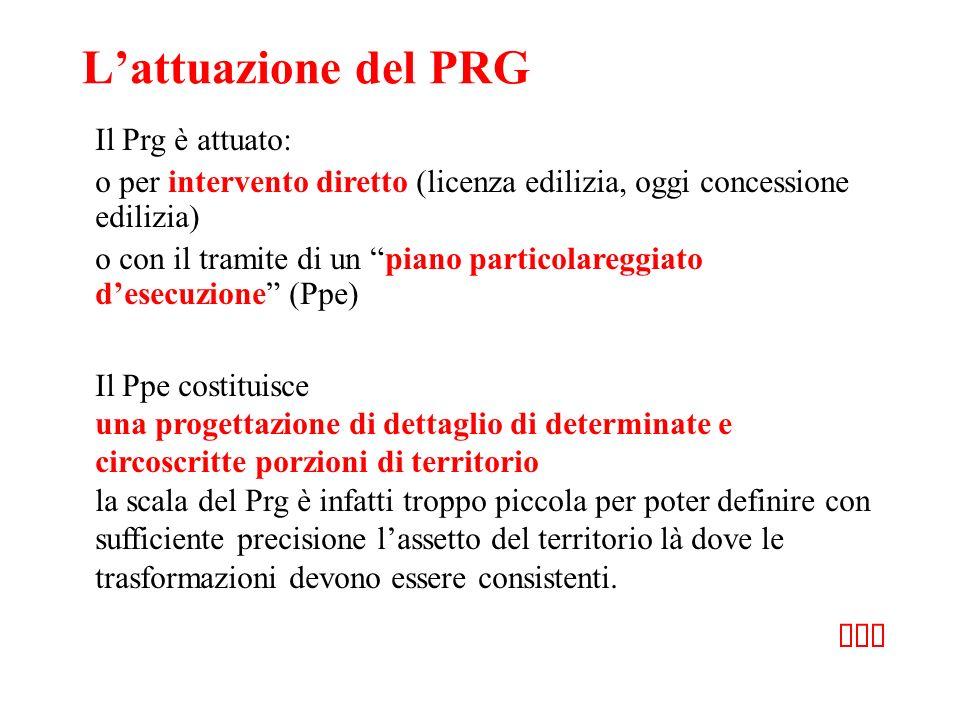 Lattuazione del PRG Il Prg è attuato: o per intervento diretto (licenza edilizia, oggi concessione edilizia) o con il tramite di un piano particolareg