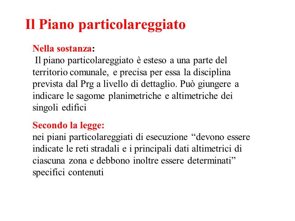 Il Piano particolareggiato Nella sostanza: Il piano particolareggiato è esteso a una parte del territorio comunale, e precisa per essa la disciplina p