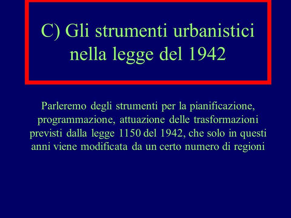 C) Gli strumenti urbanistici nella legge del 1942 Parleremo degli strumenti per la pianificazione, programmazione, attuazione delle trasformazioni pre
