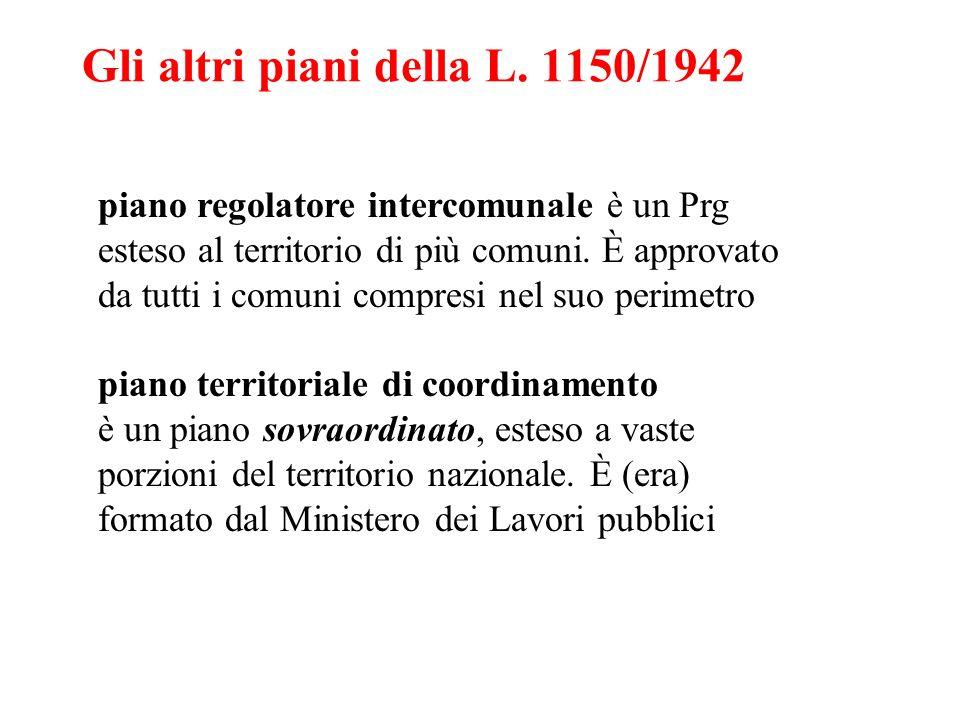 Gli altri piani della L. 1150/1942 piano regolatore intercomunale è un Prg esteso al territorio di più comuni. È approvato da tutti i comuni compresi