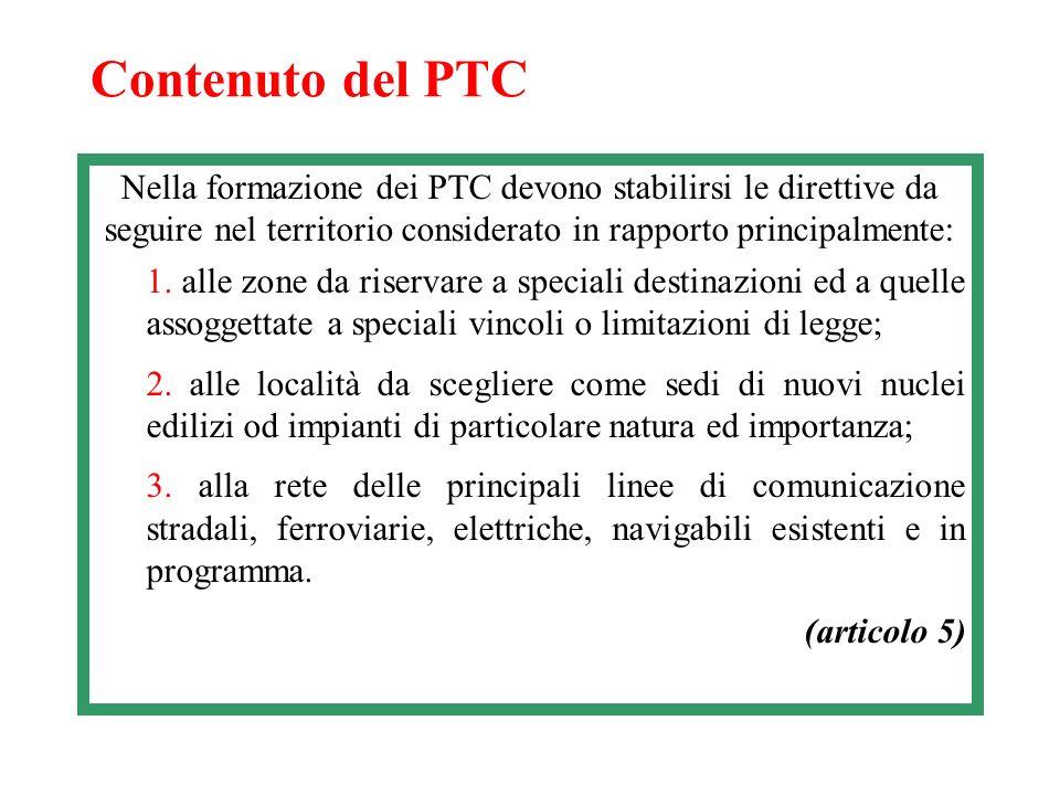 Contenuto del PTC Nella formazione dei PTC devono stabilirsi le direttive da seguire nel territorio considerato in rapporto principalmente: 1. alle zo