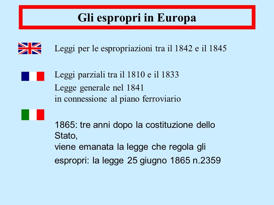 Gli espropri in Europa Leggi per le espropriazioni tra il 1842 e il 1845 Leggi parziali tra il 1810 e il 1833 Legge generale nel 1841 in connessione a