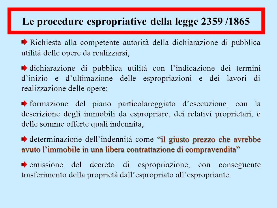 Le procedure espropriative della legge 2359 /1865 Richiesta alla competente autorità della dichiarazione di pubblica utilità delle opere da realizzars