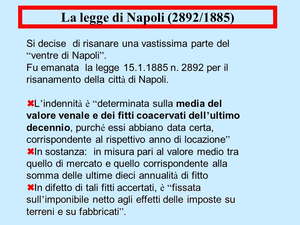 La legge di Napoli (2892/1885) Si decise di risanare una vastissima parte del ventre di Napoli. Fu emanata la legge 15.1.1885 n. 2892 per il risanamen