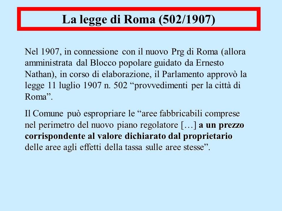 La legge di Roma (502/1907) Nel 1907, in connessione con il nuovo Prg di Roma (allora amministrata dal Blocco popolare guidato da Ernesto Nathan), in
