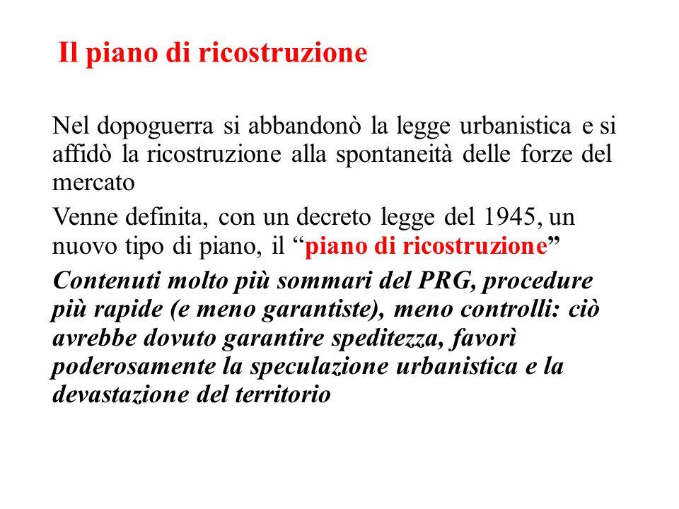 Il piano di ricostruzione Nel dopoguerra si abbandonò la legge urbanistica e si affidò la ricostruzione alla spontaneità delle forze del mercato Venne
