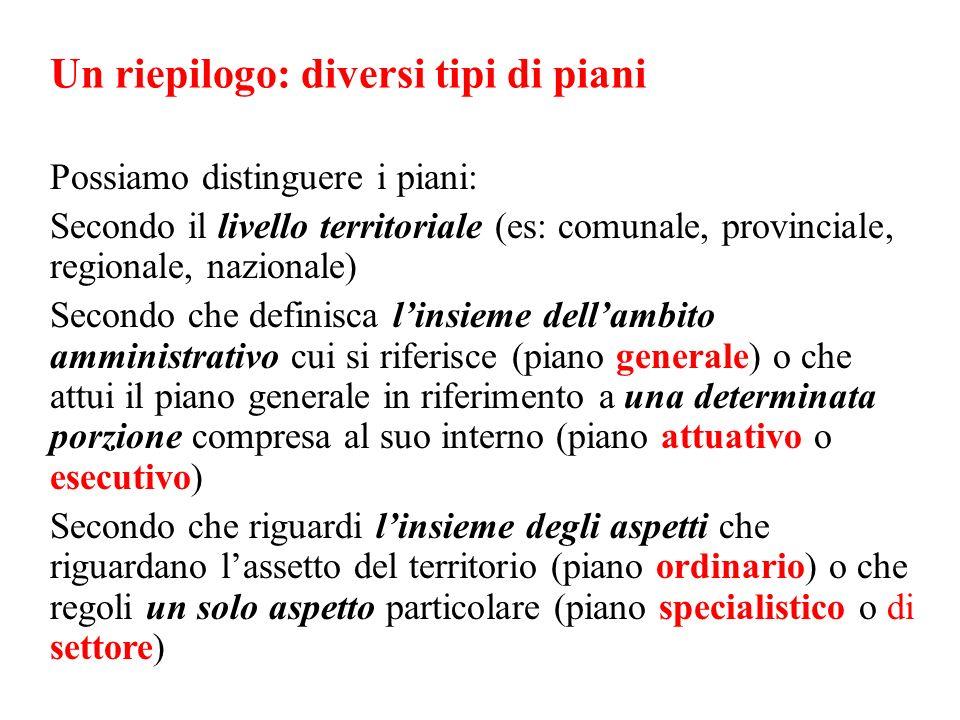 Un riepilogo: diversi tipi di piani Possiamo distinguere i piani: Secondo il livello territoriale (es: comunale, provinciale, regionale, nazionale) Se