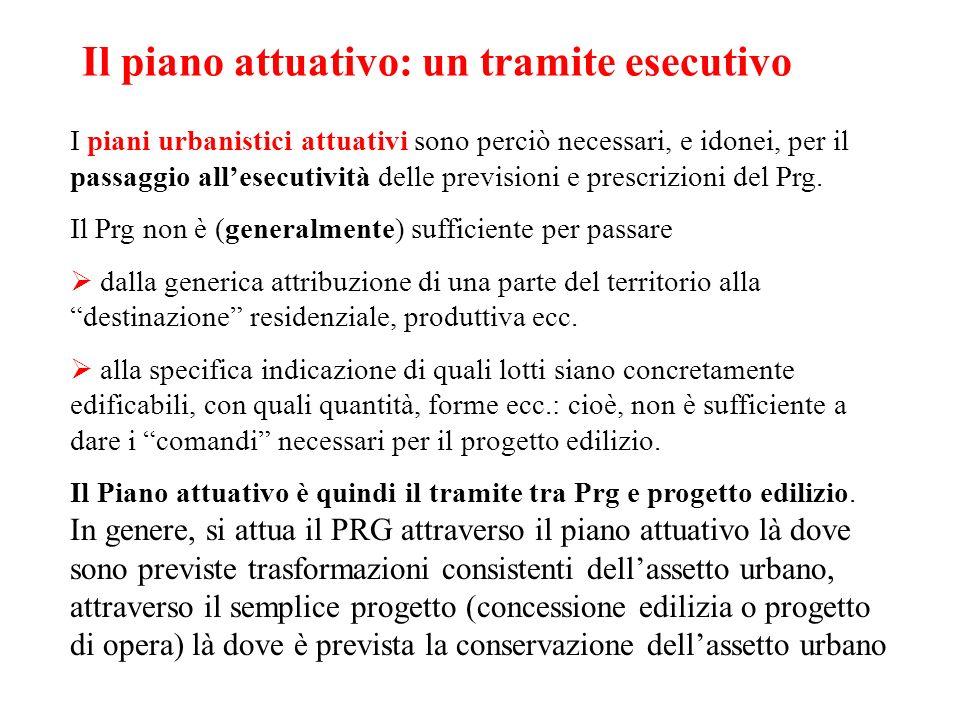 Il piano attuativo: un tramite esecutivo I piani urbanistici attuativi sono perciò necessari, e idonei, per il passaggio allesecutività delle previsio