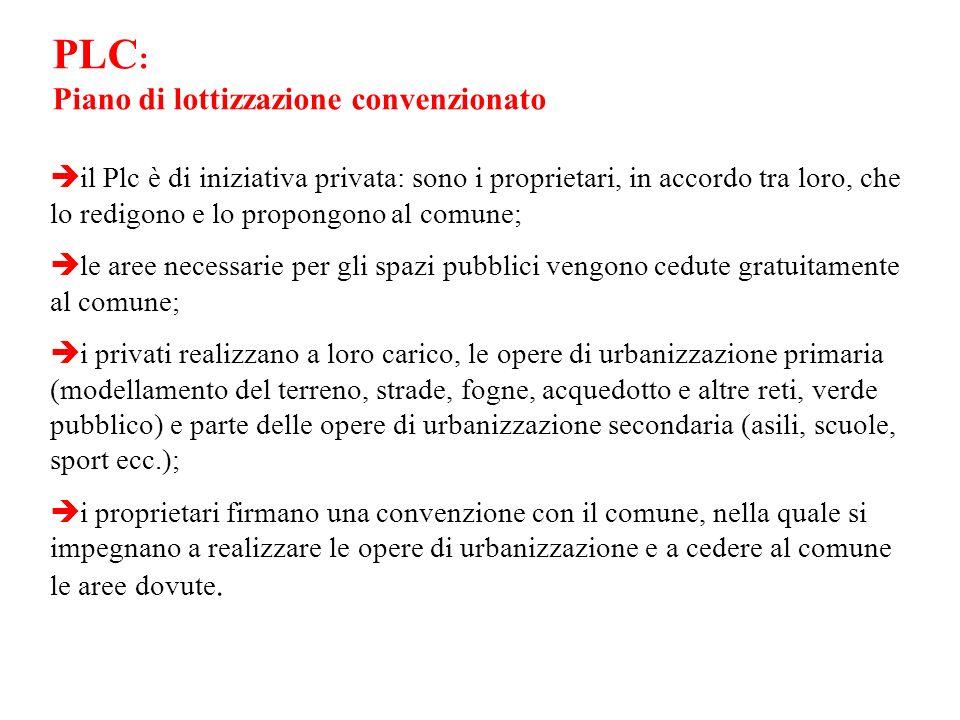 PLC : Piano di lottizzazione convenzionato il Plc è di iniziativa privata: sono i proprietari, in accordo tra loro, che lo redigono e lo propongono al
