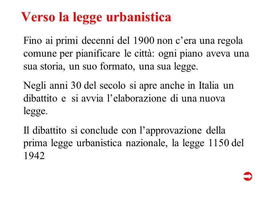 Verso la legge urbanistica Fino ai primi decenni del 1900 non cera una regola comune per pianificare le città: ogni piano aveva una sua storia, un suo