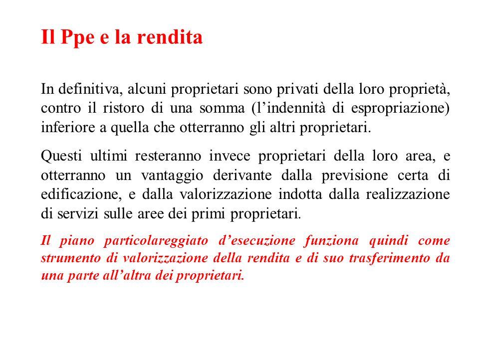 Il Ppe e la rendita In definitiva, alcuni proprietari sono privati della loro proprietà, contro il ristoro di una somma (lindennità di espropriazione)