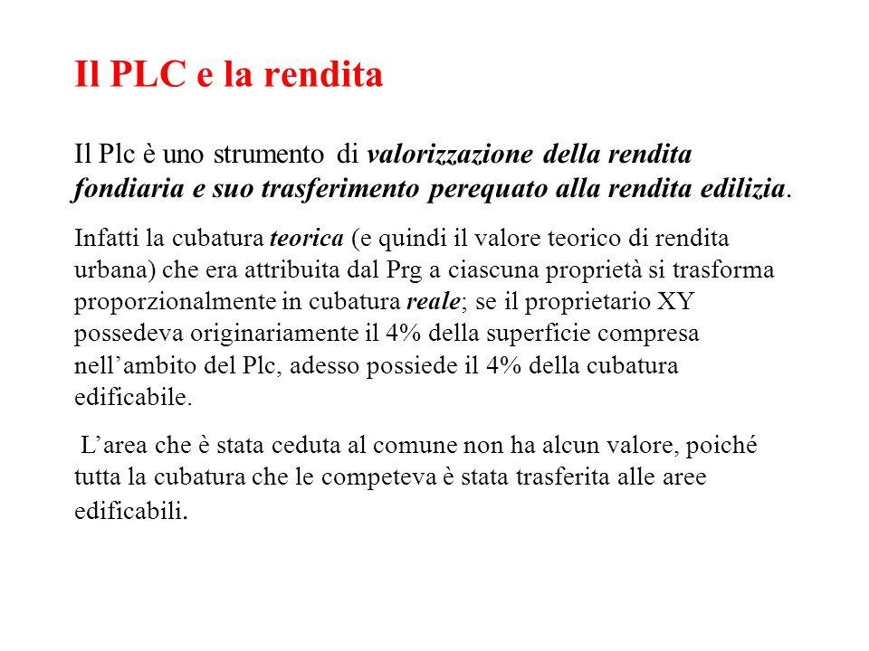Il PLC e la rendita Il Plc è uno strumento di valorizzazione della rendita fondiaria e suo trasferimento perequato alla rendita edilizia. Infatti la c