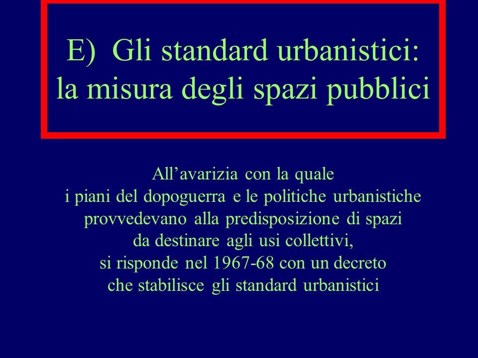 E) Gli standard urbanistici: la misura degli spazi pubblici Allavarizia con la quale i piani del dopoguerra e le politiche urbanistiche provvedevano a
