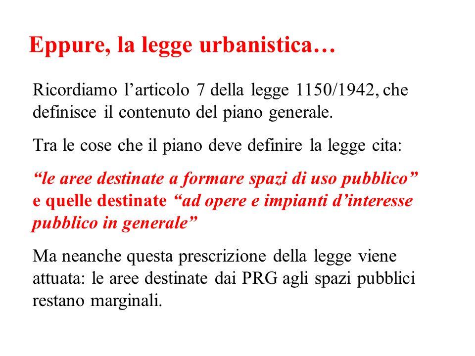 Eppure, la legge urbanistica… Ricordiamo larticolo 7 della legge 1150/1942, che definisce il contenuto del piano generale. Tra le cose che il piano de