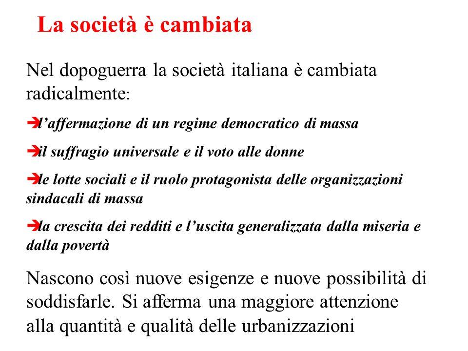 La società è cambiata Nel dopoguerra la società italiana è cambiata radicalmente : laffermazione di un regime democratico di massa il suffragio univer