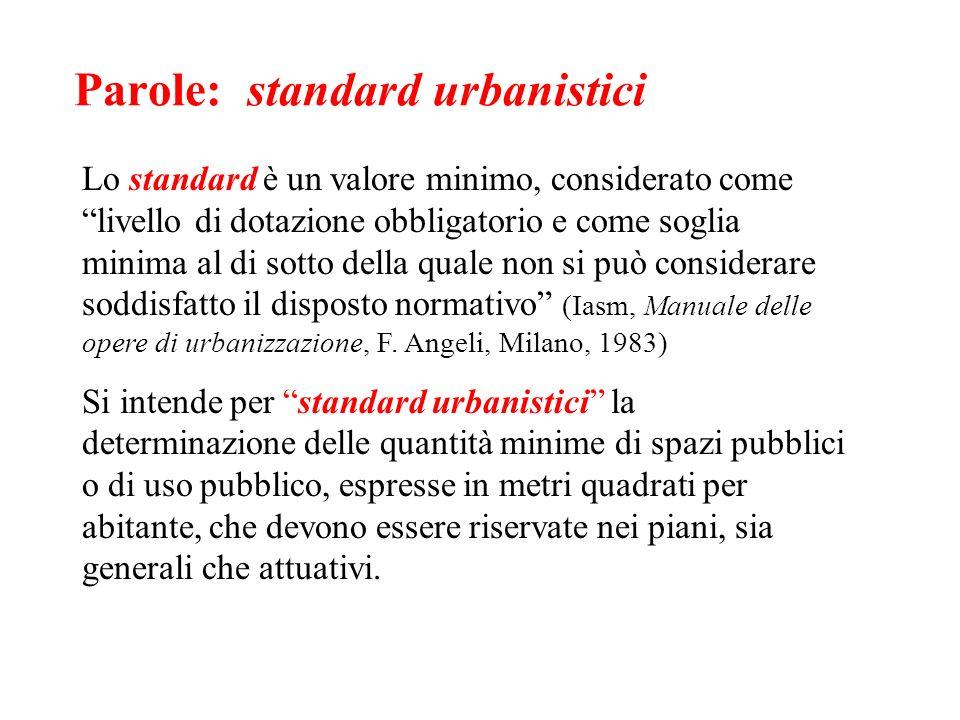 Parole: standard urbanistici Lo standard è un valore minimo, considerato come livello di dotazione obbligatorio e come soglia minima al di sotto della