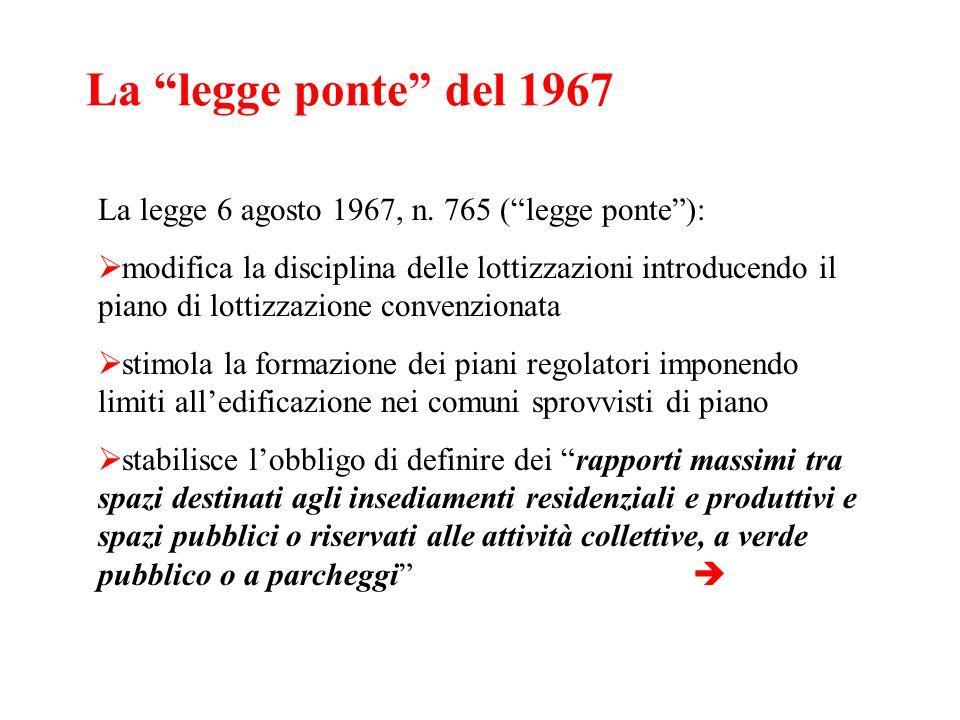La legge ponte del 1967 La legge 6 agosto 1967, n. 765 (legge ponte): modifica la disciplina delle lottizzazioni introducendo il piano di lottizzazion
