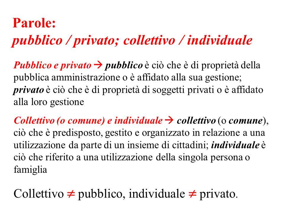 Parole: pubblico / privato; collettivo / individuale Pubblico e privato pubblico è ciò che è di proprietà della pubblica amministrazione o è affidato