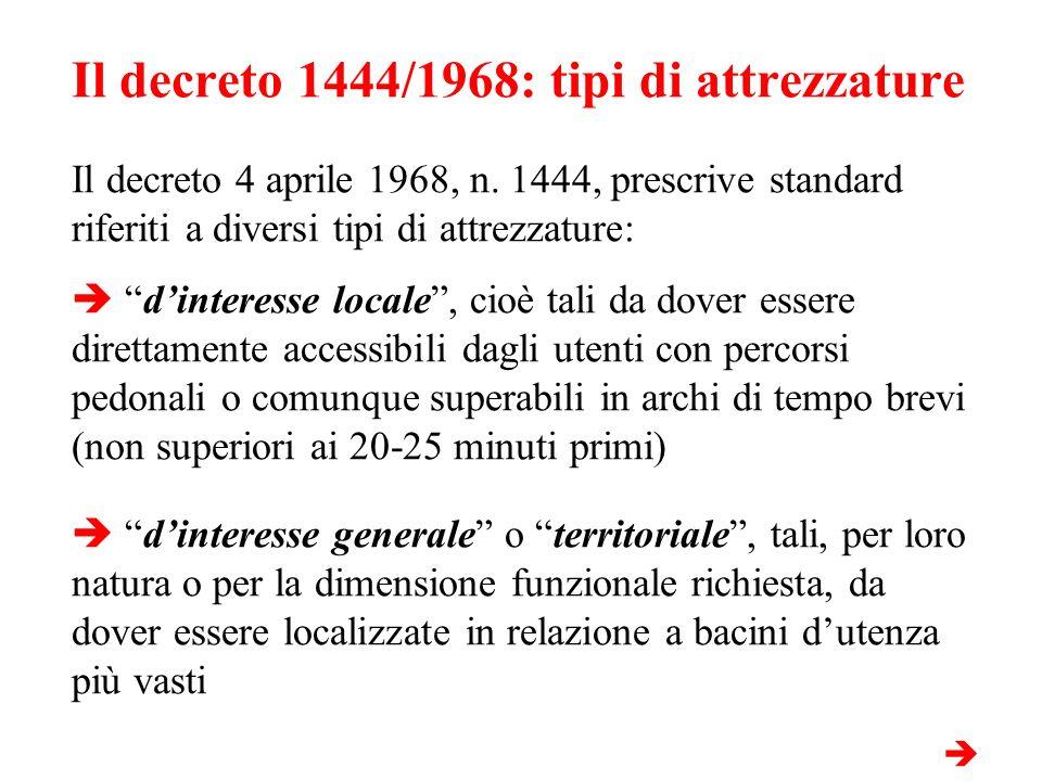 Il decreto 1444/1968: tipi di attrezzature Il decreto 4 aprile 1968, n. 1444, prescrive standard riferiti a diversi tipi di attrezzature: dinteresse l