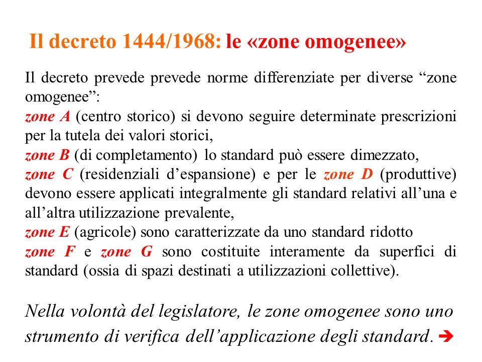 Il decreto 1444/1968: le «zone omogenee» Il decreto prevede prevede norme differenziate per diverse zone omogenee: zone A (centro storico) si devono s