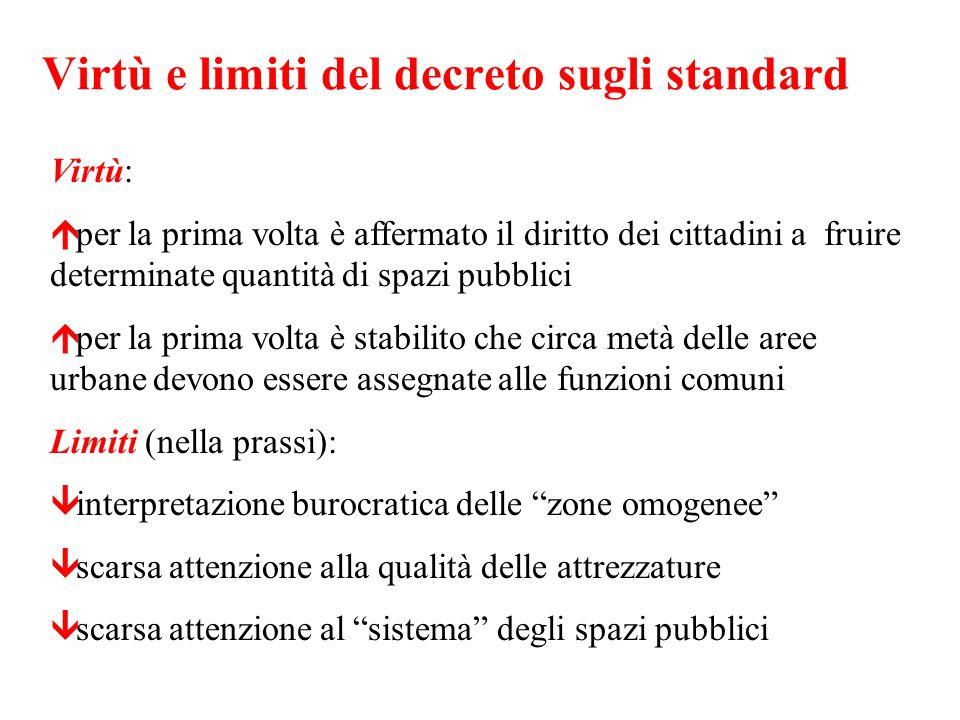 Virtù e limiti del decreto sugli standard Virtù: per la prima volta è affermato il diritto dei cittadini a fruire determinate quantità di spazi pubbli
