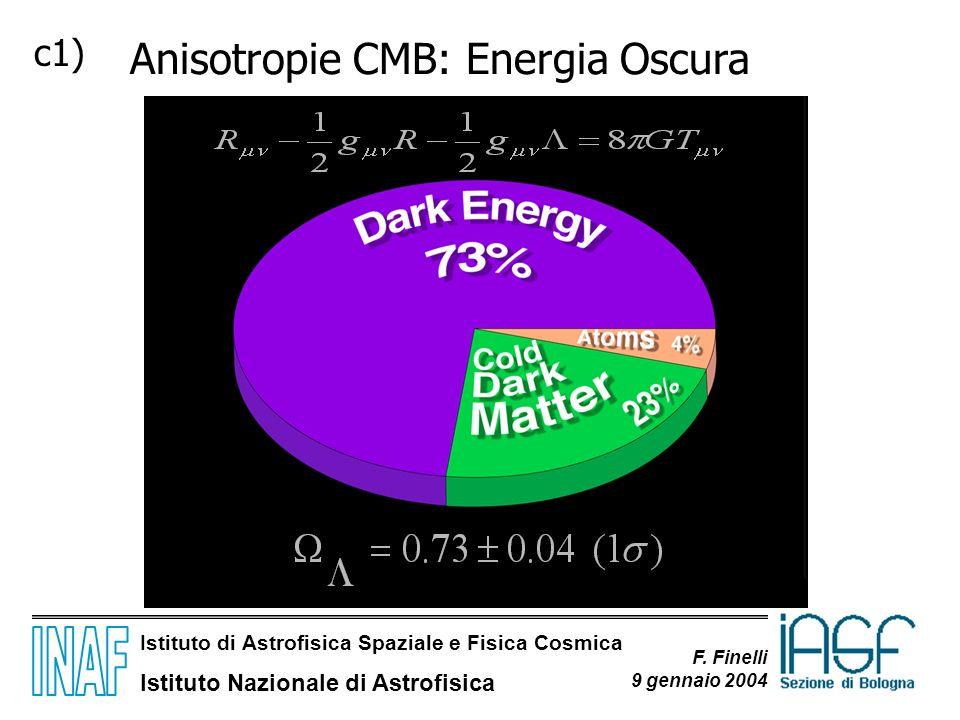 Istituto di Astrofisica Spaziale e Fisica Cosmica Istituto Nazionale di Astrofisica F. Finelli 9 gennaio 2004 Anisotropie CMB: Energia Oscura c1)