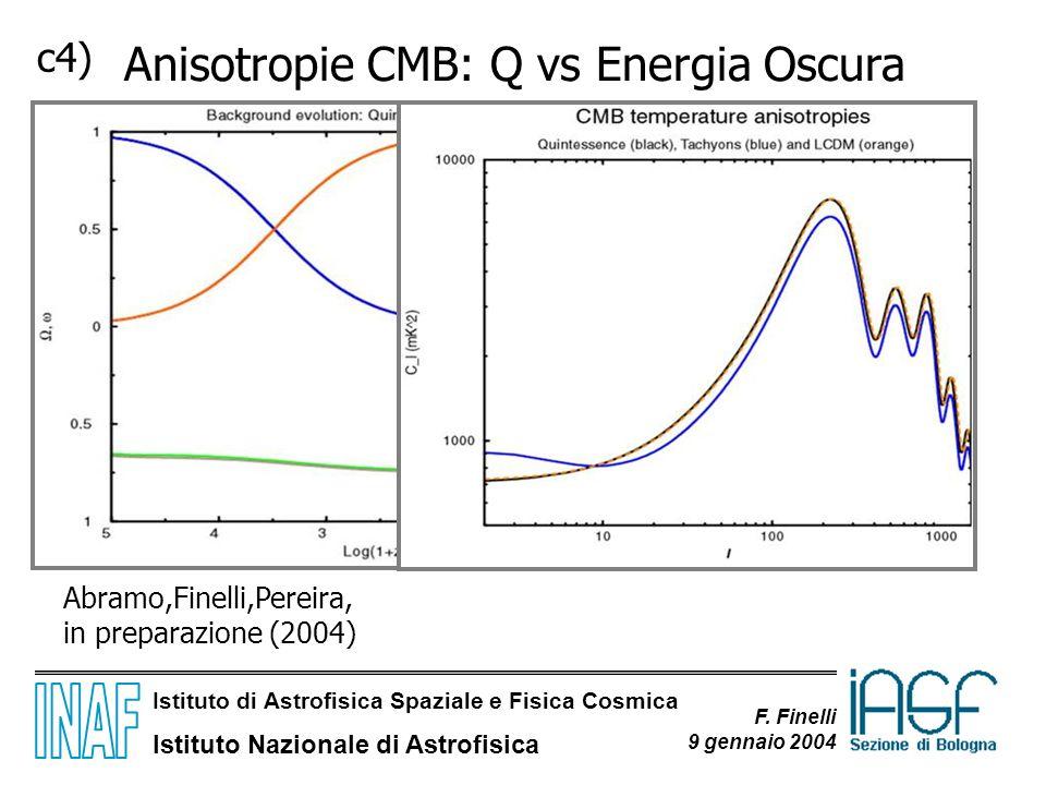 Istituto di Astrofisica Spaziale e Fisica Cosmica Istituto Nazionale di Astrofisica F. Finelli 9 gennaio 2004 c4) Anisotropie CMB: Q vs Energia Oscura