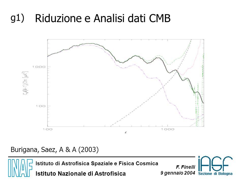 Istituto di Astrofisica Spaziale e Fisica Cosmica Istituto Nazionale di Astrofisica F. Finelli 9 gennaio 2004 g1) Riduzione e Analisi dati CMB Deconvo