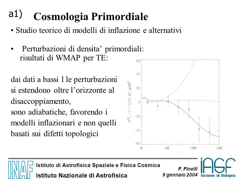 Istituto di Astrofisica Spaziale e Fisica Cosmica Istituto Nazionale di Astrofisica F. Finelli 9 gennaio 2004 Perturbazioni di densita primordiali: ri