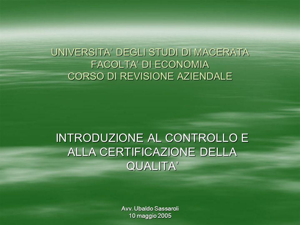 Avv. Ubaldo Sassaroli 10 maggio 2005 UNIVERSITA DEGLI STUDI DI MACERATA FACOLTA DI ECONOMIA CORSO DI REVISIONE AZIENDALE INTRODUZIONE AL CONTROLLO E A