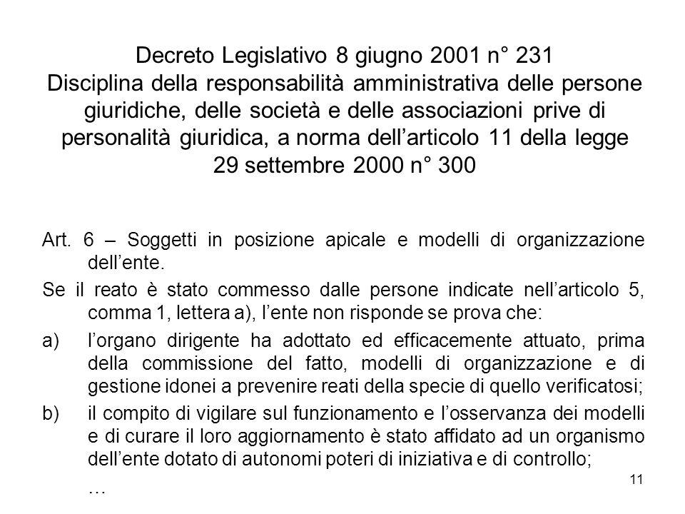 11 Decreto Legislativo 8 giugno 2001 n° 231 Disciplina della responsabilità amministrativa delle persone giuridiche, delle società e delle associazion