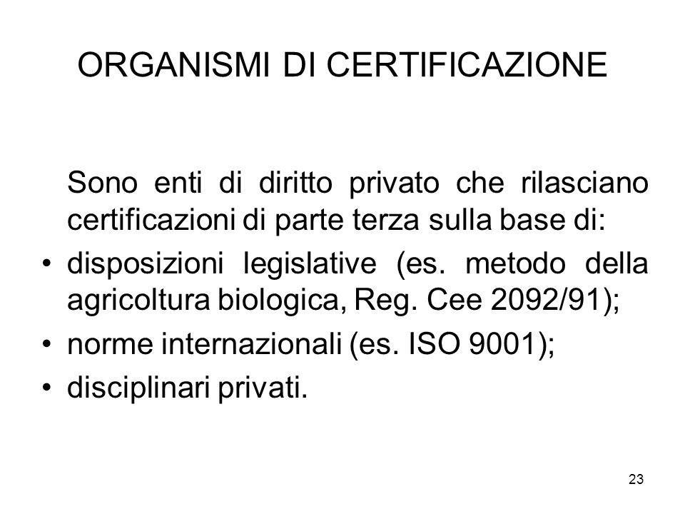 23 ORGANISMI DI CERTIFICAZIONE Sono enti di diritto privato che rilasciano certificazioni di parte terza sulla base di: disposizioni legislative (es.