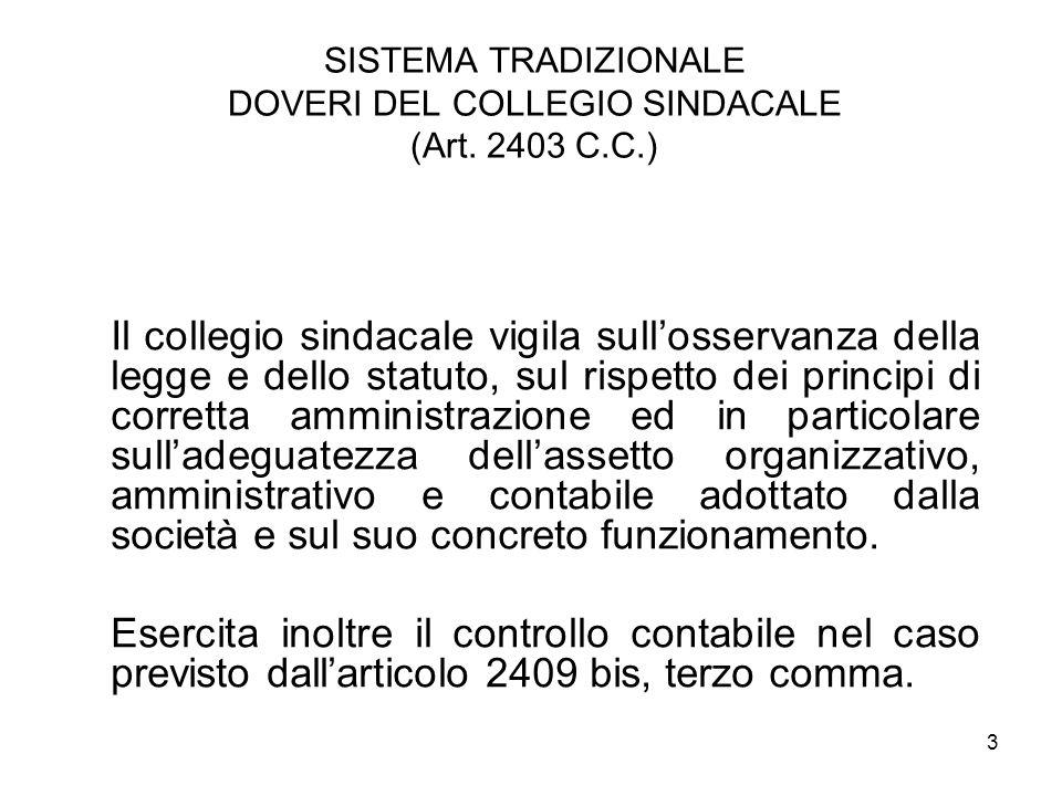 3 SISTEMA TRADIZIONALE DOVERI DEL COLLEGIO SINDACALE (Art. 2403 C.C.) Il collegio sindacale vigila sullosservanza della legge e dello statuto, sul ris