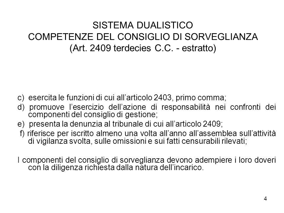 4 SISTEMA DUALISTICO COMPETENZE DEL CONSIGLIO DI SORVEGLIANZA (Art. 2409 terdecies C.C. - estratto) c) esercita le funzioni di cui allarticolo 2403, p