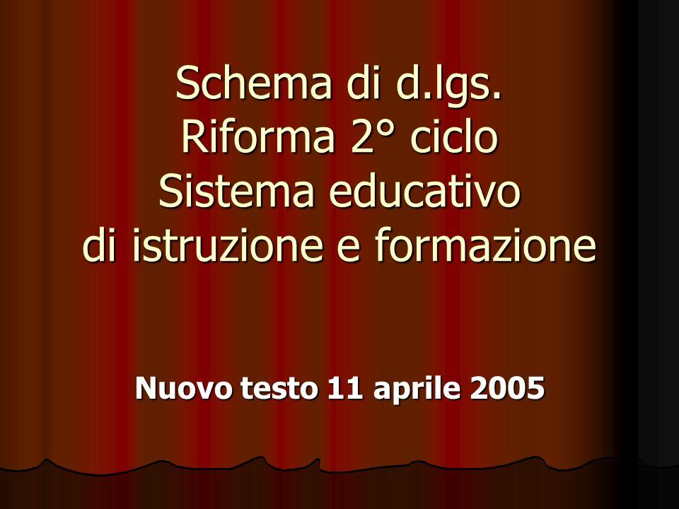 Schema di d.lgs. Riforma 2° ciclo Sistema educativo di istruzione e formazione Nuovo testo 11 aprile 2005