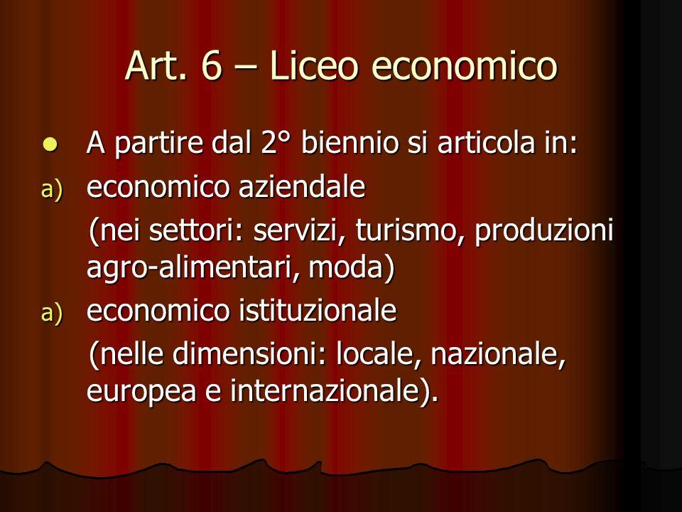 Art. 6 – Liceo economico A partire dal 2° biennio si articola in: A partire dal 2° biennio si articola in: a) economico aziendale (nei settori: serviz