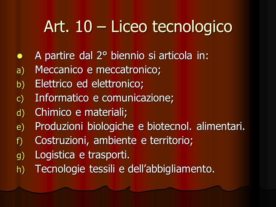 Art. 10 – Liceo tecnologico A partire dal 2° biennio si articola in: A partire dal 2° biennio si articola in: a) Meccanico e meccatronico; b) Elettric