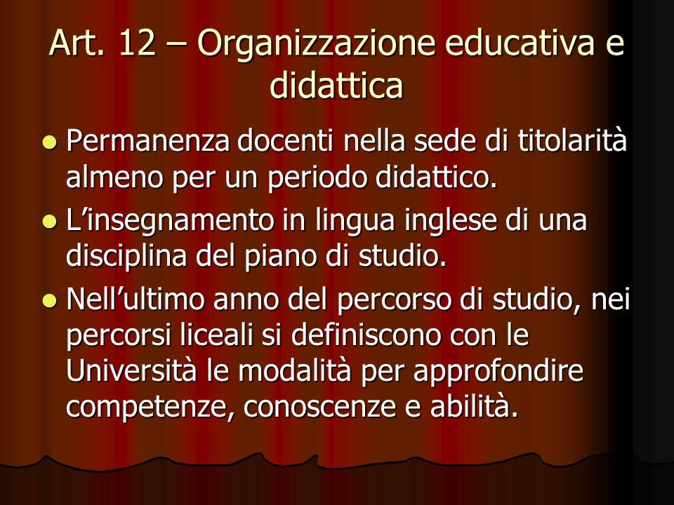Art. 12 – Organizzazione educativa e didattica Permanenza docenti nella sede di titolarità almeno per un periodo didattico. Permanenza docenti nella s