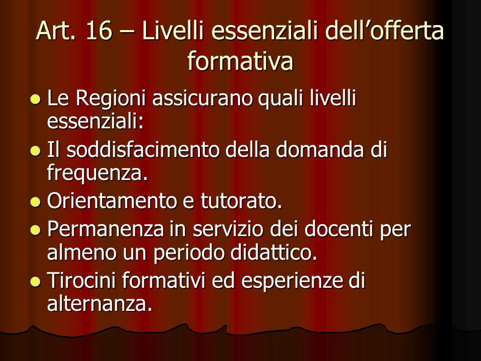Art. 16 – Livelli essenziali dellofferta formativa Le Regioni assicurano quali livelli essenziali: Le Regioni assicurano quali livelli essenziali: Il