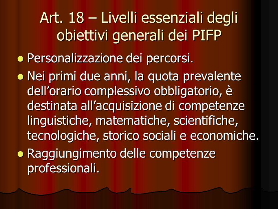 Art. 18 – Livelli essenziali degli obiettivi generali dei PIFP Personalizzazione dei percorsi. Personalizzazione dei percorsi. Nei primi due anni, la