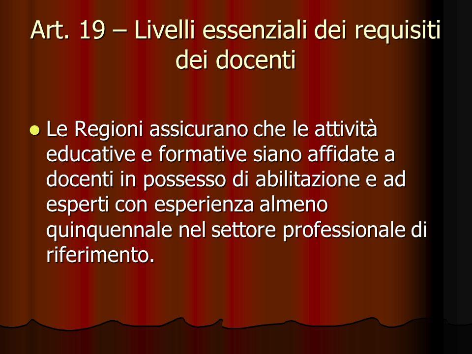 Art. 19 – Livelli essenziali dei requisiti dei docenti Le Regioni assicurano che le attività educative e formative siano affidate a docenti in possess