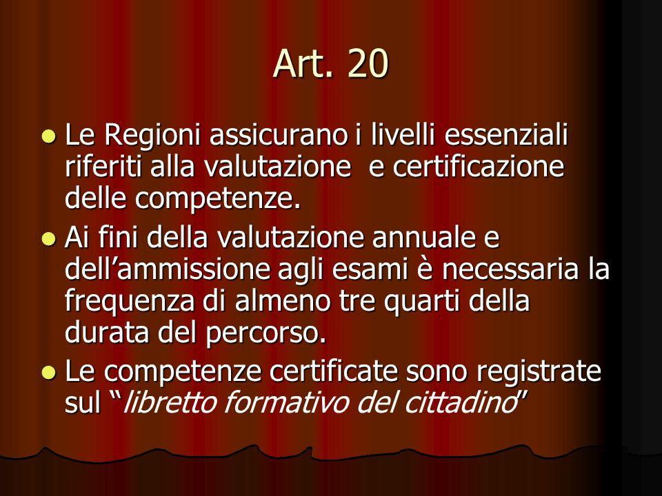 Art. 20 Le Regioni assicurano i livelli essenziali riferiti alla valutazione e certificazione delle competenze. Le Regioni assicurano i livelli essenz