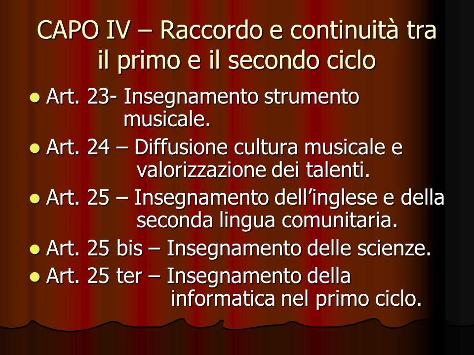CAPO IV – Raccordo e continuità tra il primo e il secondo ciclo Art. 23- Insegnamento strumento musicale. Art. 23- Insegnamento strumento musicale. Ar