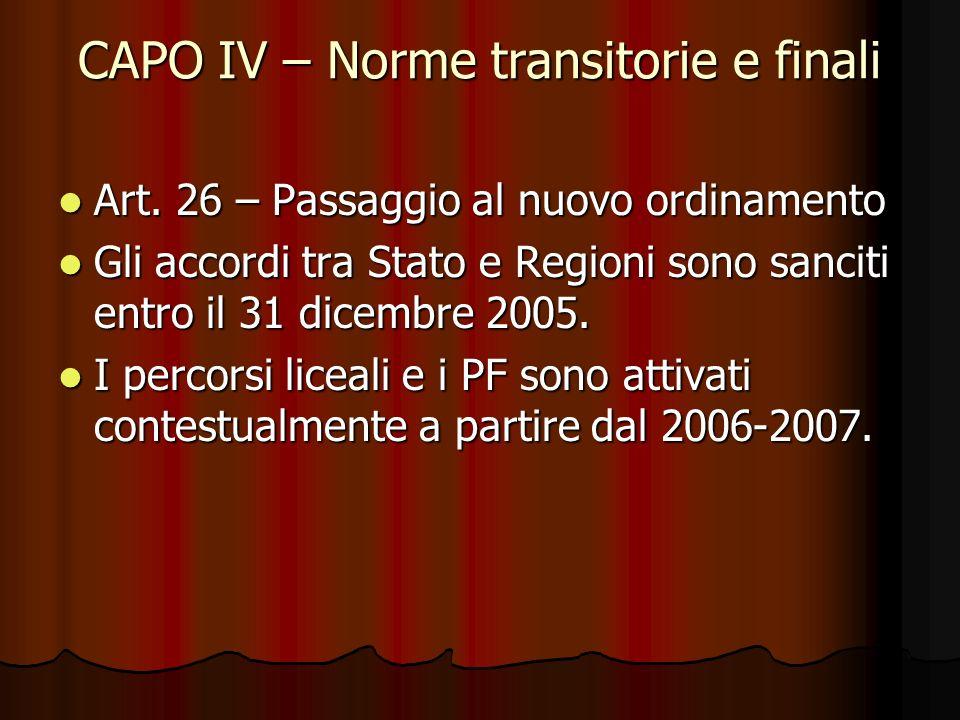 CAPO IV – Norme transitorie e finali Art. 26 – Passaggio al nuovo ordinamento Art. 26 – Passaggio al nuovo ordinamento Gli accordi tra Stato e Regioni