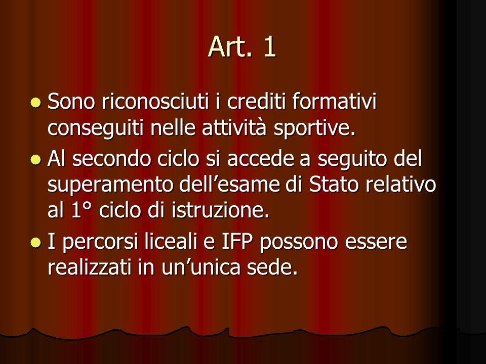 Art. 1 Sono riconosciuti i crediti formativi conseguiti nelle attività sportive. Sono riconosciuti i crediti formativi conseguiti nelle attività sport