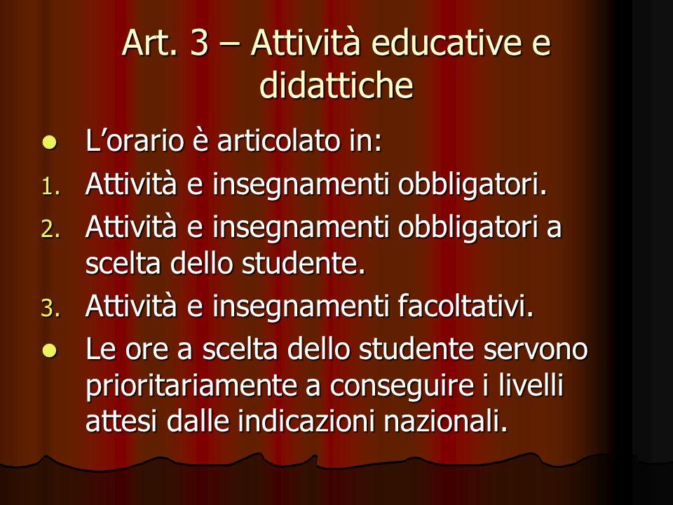 Art. 3 – Attività educative e didattiche Lorario è articolato in: Lorario è articolato in: 1. Attività e insegnamenti obbligatori. 2. Attività e inseg